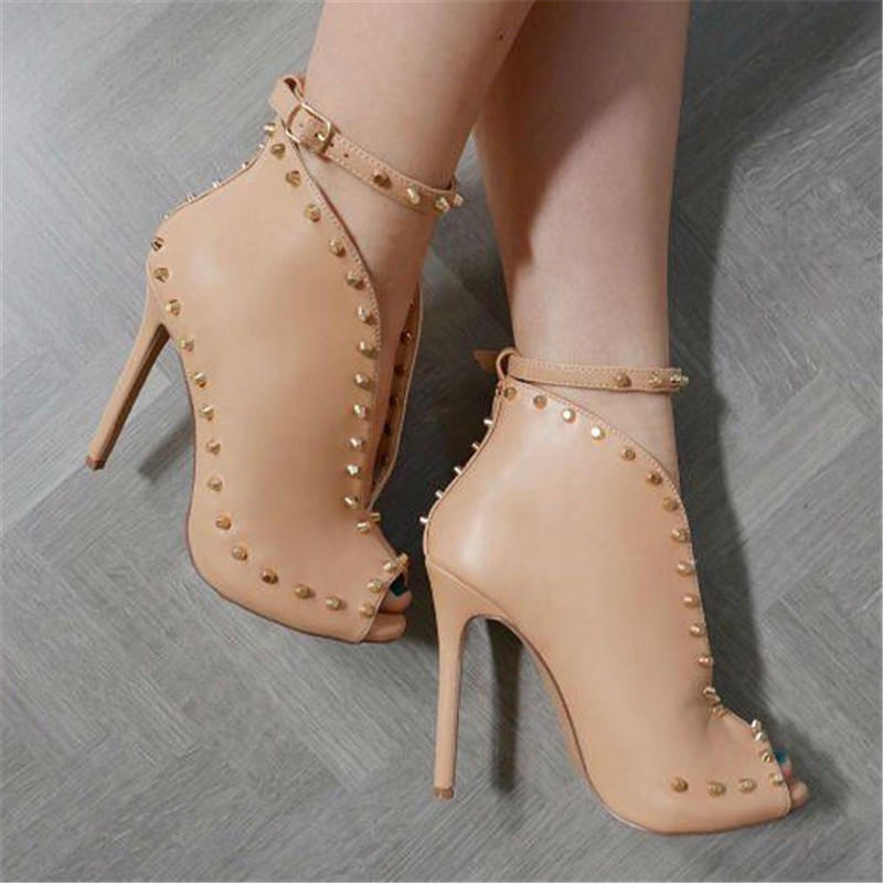 Sestito New Arrivals Ladies Fashion Front V Peep Toe Rome Sandals Boots With Rivets Female Stiletto High Heels Ankle Strap Boots