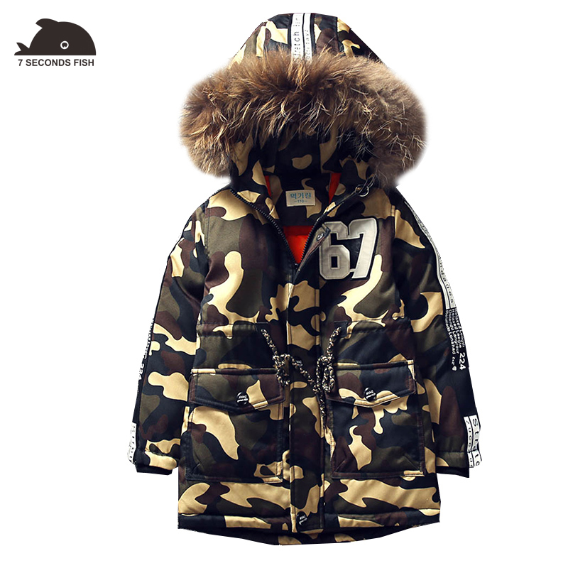 hot new boy coat outwear children winter 2018 boys coat fur hood kids camouflage jacket -20/-30 degree high quality