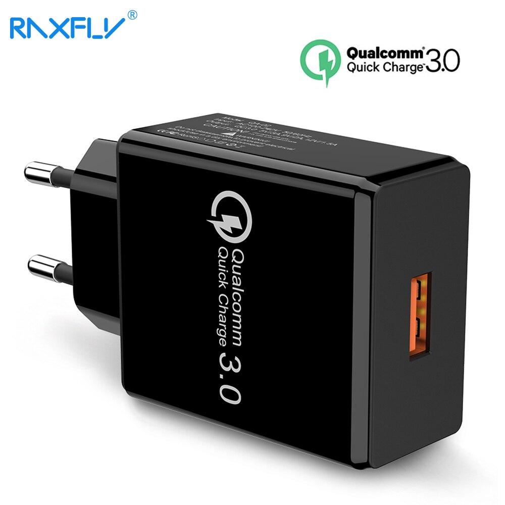 RAXFLY cargador de teléfono USB para iPhone carga rápida 3,0 para Samsung Note 9 8 18 W cargador rápido de viaje de pared para Huawei P20 Pro teléfono