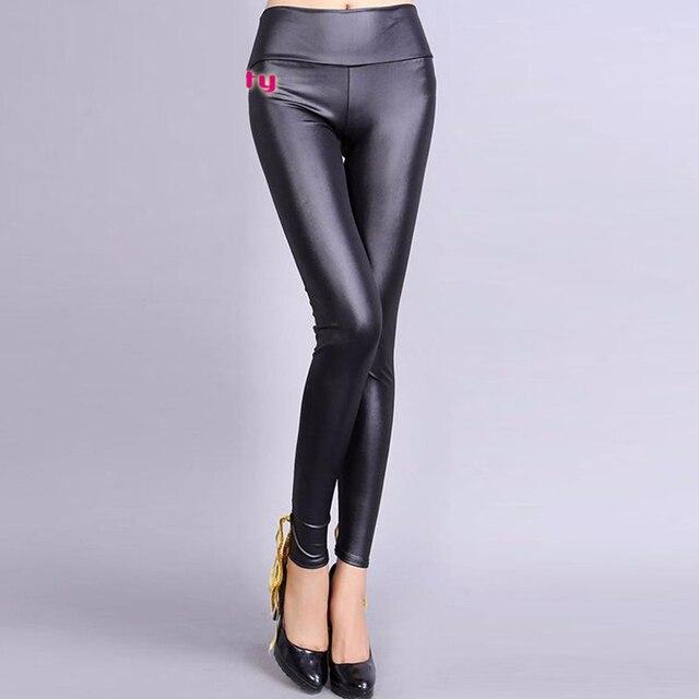 Pantalones de alta Calidad de Encaje Negro Mujeres Sexy Leggings de Cuero de Vinilo con cordones W207978