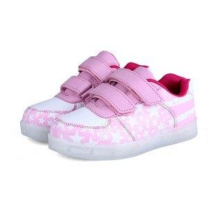 Image 4 - サイズ25 35発光スニーカーusb子供靴少年少女グローイング発光唯一のスニーカーテニス子供ライトアップ靴バスケット