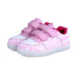 Image 4 - Size 25 35 Luminous Sneakers USB Children Shoe Boy Girl Glowing Sneakers with Luminous Sole Tennis Kids Light Up Shoes Basket