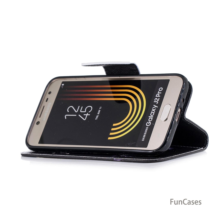 Butterfly Flip Flip Phone Case sFor Funda Samsung J2 Pro 2018 Card slot Case Shell Flip Phone Case Samsung Galaxy J2 Pro 2018 in Flip Cases from Cellphones