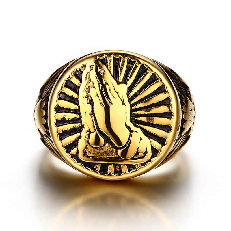 Vnox Винтаж золото-Цвет Для мужчин кольцо Нержавеющая сталь набожные Намасте жест Дизайн мужской молитва ювелирных изделий