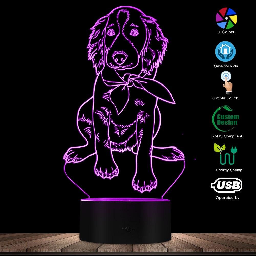 Irish Setter Puppy Shape Modern Design Glowing LED Night Light Customize Name Home Decor Pet Dog Animal Cute Mood Table Lamp