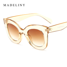MADELINY New Fashion Cat Eye Sunglasses Women Brand Designer Vintage Gradient Cat Eye Sun Glasses Shades For Women UV400 MA216