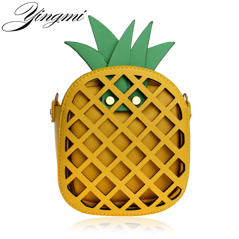 YINGMI Spring and summer evening bag mobile phone clutch bag pineapple change purse package shoulder Messenger bag handbags w 298 stylish nylon cell phone bag change purse black