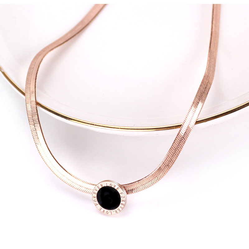 RE Classic Necklace Rose Gold Stainless Steel Personalized Pendant Choker Gift Not Change Color bijoux J2940