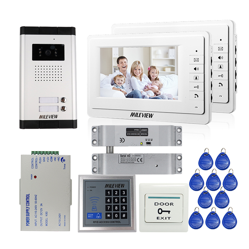 FREE SHIPPING 7 Video Intercom Apartment Door Phone 2 White Monitors Outdoor Camera RFID Access for 2 Family + Drop Bolt Lock