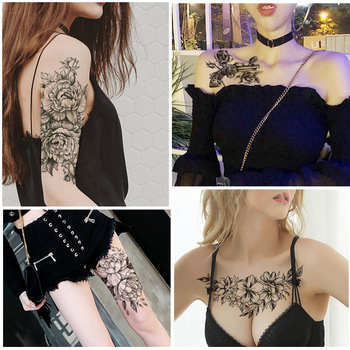 1 PC Fashion Women Girl Temporary Tattoo Sticker Black Roses Design Full Flower Arm Body Art Big Large Fake Tattoo Sticker 1