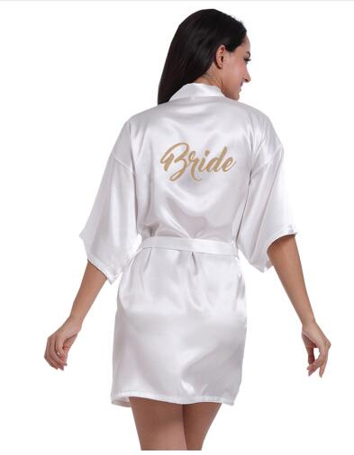 Women Bathrobe Letter Bride Bridesmaid Mother of the Bride Maid of Honor Matron Get Ready Robes Bridal Party Gifts Dressing Gown(China)