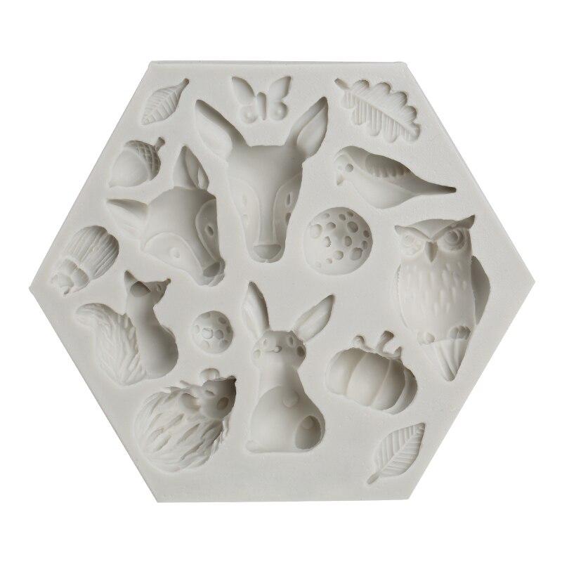 PRZY forêt animal fondant silicone moule insecte lapin hibou papillon coccinelle citrouille champignon décoratif moule moule d'argile
