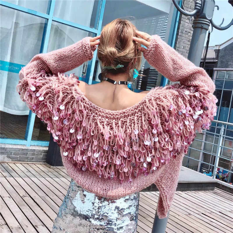 5ac5f267d Hand Knitted Beading Cardigan Women Fringed Sweater Loose 3D Sequined  Tassels Coat Hollow Wool Circles Fringed