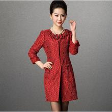 New women's autumn winter fashion vintage jacquard Rose three-dimensional flowers long slim trench coat outerwear