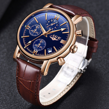 LIGE New Multifunction Mens Watches Top Brand Quartz Watch Men Fashion Leather Military Waterproof Sport Clock reloj hombre+Box