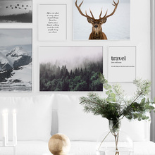 Forest mountain Tree Deer Travel Quotes Nordic Posters and Prints Wall Art Canvas Painting Pictures For Living Room Decor