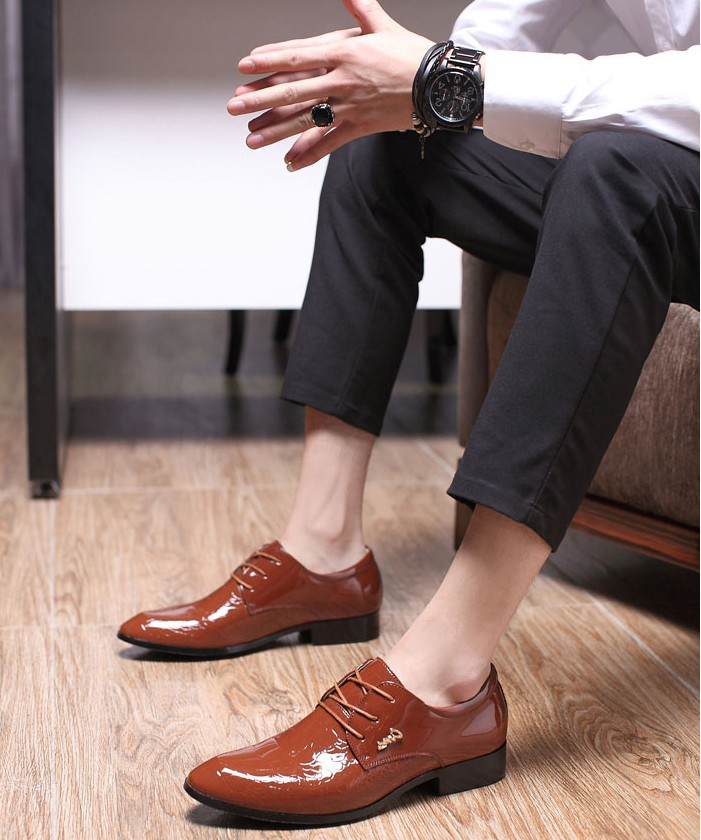 2018 New arrial Men Fashion bright Business Shoes Male Leather Shoes Men Dress Shoes Business best