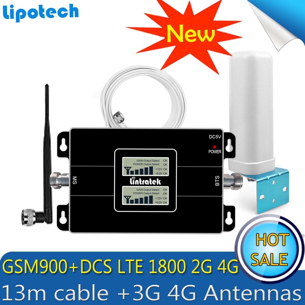 2018 Lintratek  GSM 900 4G LTE 1800 Repeater GSM 1800mhz Mobile Signal Booster 65dB Dual Band Repetidor Celular 4G Antenna
