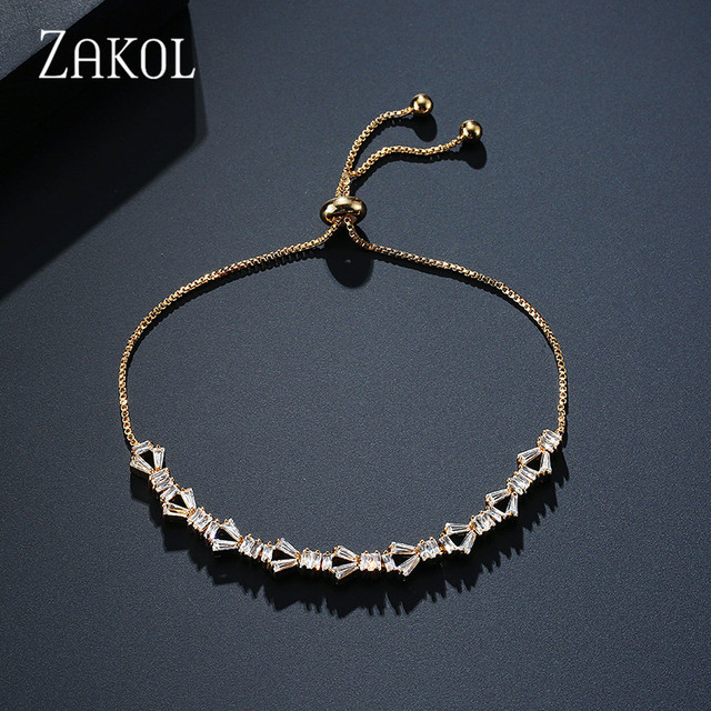 ZAKOL Charm Rose Gold Color Bracelets AAA CZ Stone Geometric Chain & Link Trendy Bracelets Best Jewelry Gift For Women FSBP2035