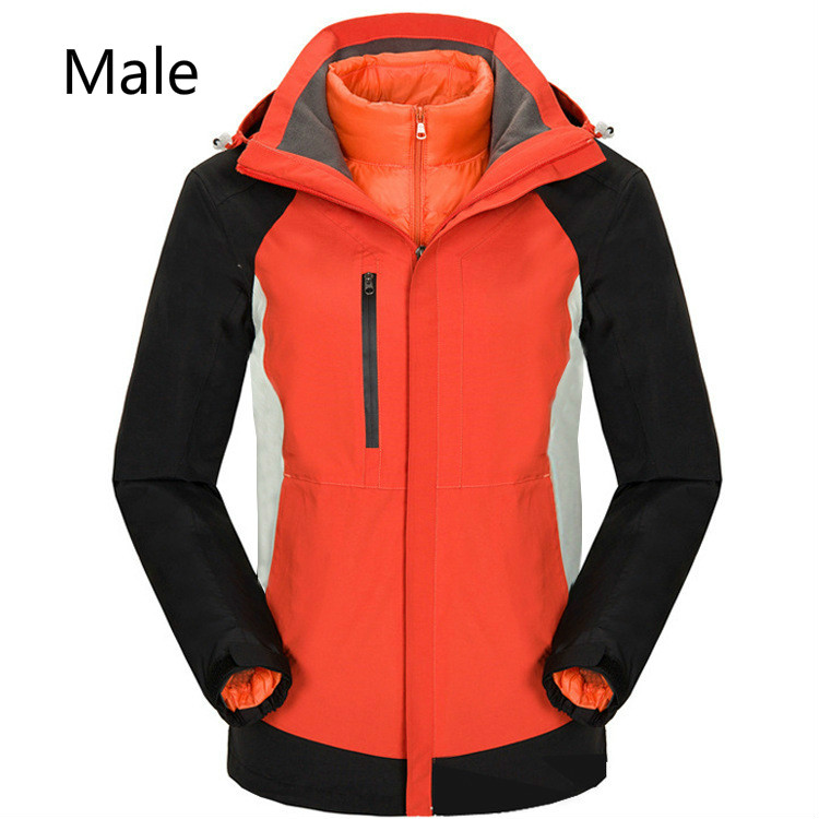 Outdoor Cold - Proof Thermal Shock Jacket Can Be Stripped Down Feather Inner Bladder Two Sets Of Men And Women Mountain Ski Wear