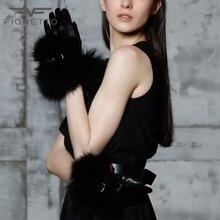 Fioretto Brand Luxury Warm Women Genuine Leather Gloves Fox Fur Gloves Soft Cowhide Mittens Evening Party Gloves Winter Ladies