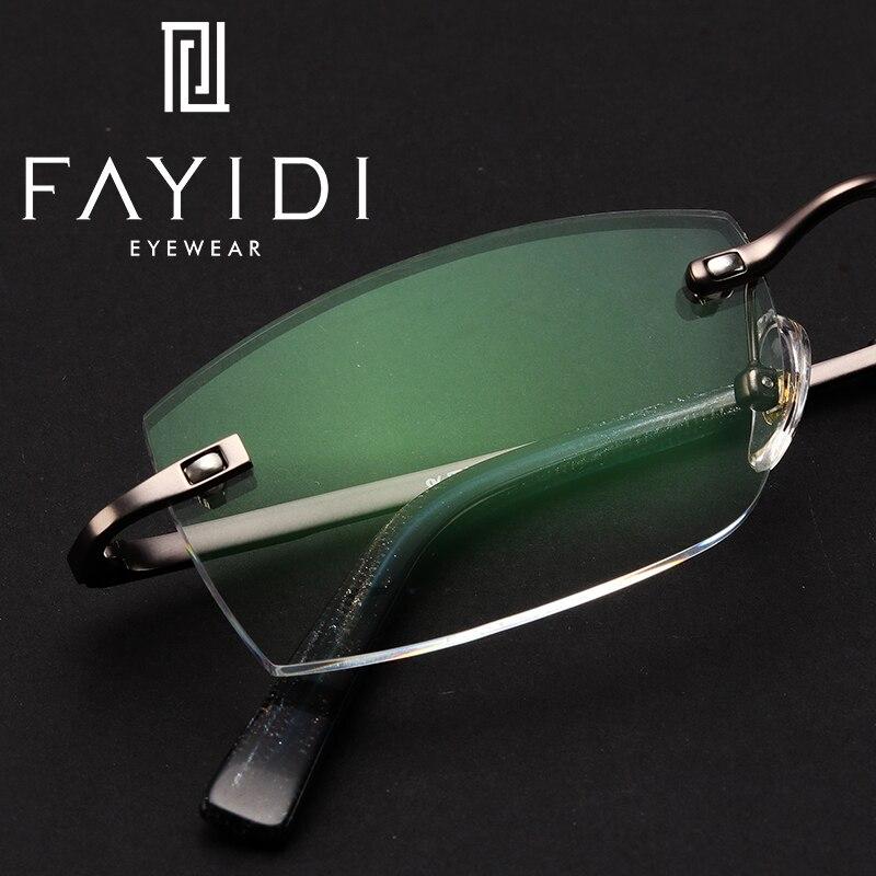 Gafas de aleación para hombre, miopía, lectura de hiperopía, prescripción óptica clara, gafas sin montura # F103