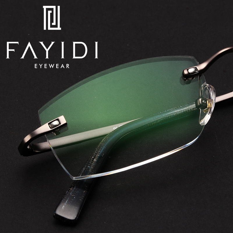 Brillen Silver Gray Herren Legierung Klar Randlose Lesen F103 Optische Kurzsichtigkeit Weitsichtigkeit Brille Verordnung PxwOx7