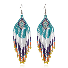 цены 12 Colors Beaded Long Tassel Earrings Bohemian Handmade Earrings Women Fashion Ear Jewelry Beads Statement Earrings Ethnic Drop