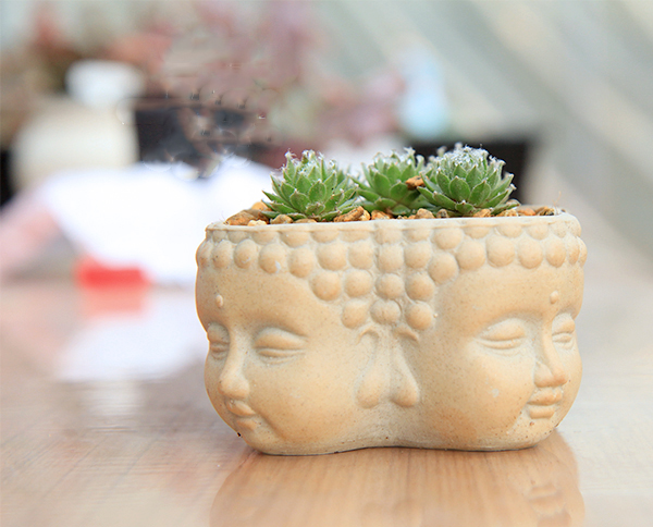 PRZY Silica gel silicone mold 3d vase molds cement planter mould four Buddha surrounded flower pots handemade mold