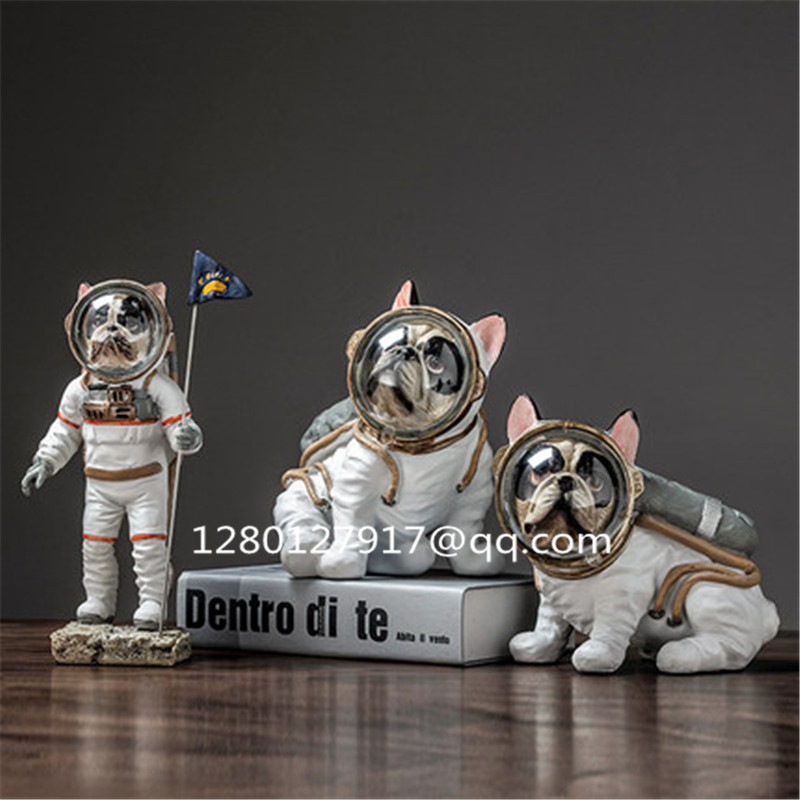 Simulation Animal Cute Puppy Statue FRENCH BULLDOG Space Dog Creative Home Decor Resin Action Figure Model Toy P1281