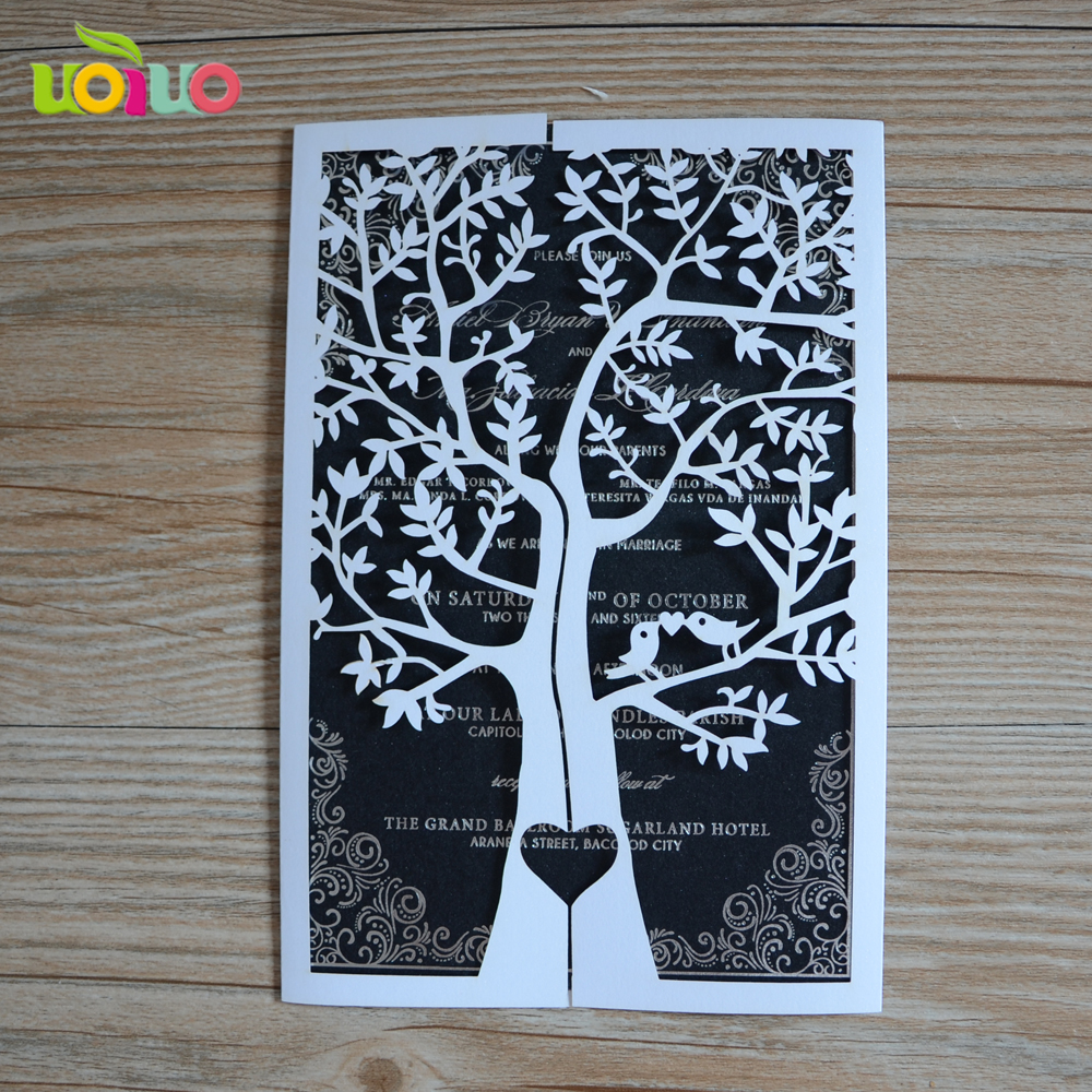 Affordable Price Laser Cut Tree Wedding Card Invitation Luxury