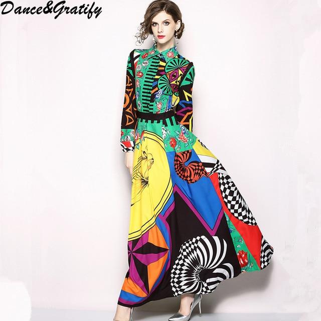 c2235df4204 New 2018 Summer Women Brand Designer Print Runway Dresses Turn-down Collar  Long Maxi Boho Party Sundress