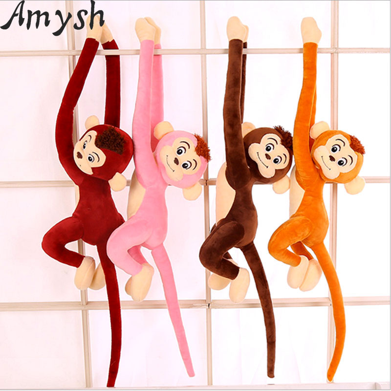 Amysh HOT 4 Colors 65cm Long Arm Monkey from Arm to Tail Plush Toys Colorful toy soft Monkey Curtains Monkey Stuffed Animal Doll punk style solid color hollow out rhinestone leaf shape pendant necklace for women