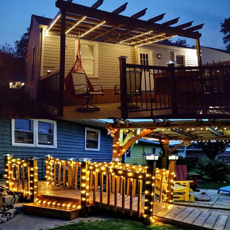 Солнечного освещения строку открытый сад 50/100/200 светодиодный 7 M/12 M/22 м провода Фея лампы вечерние Декор свет Рождества