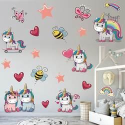 Единорог цветные настенные наклейки Животные настенные Переводные картинки с лошадью для детей девочек комнаты DIY плакат на стену