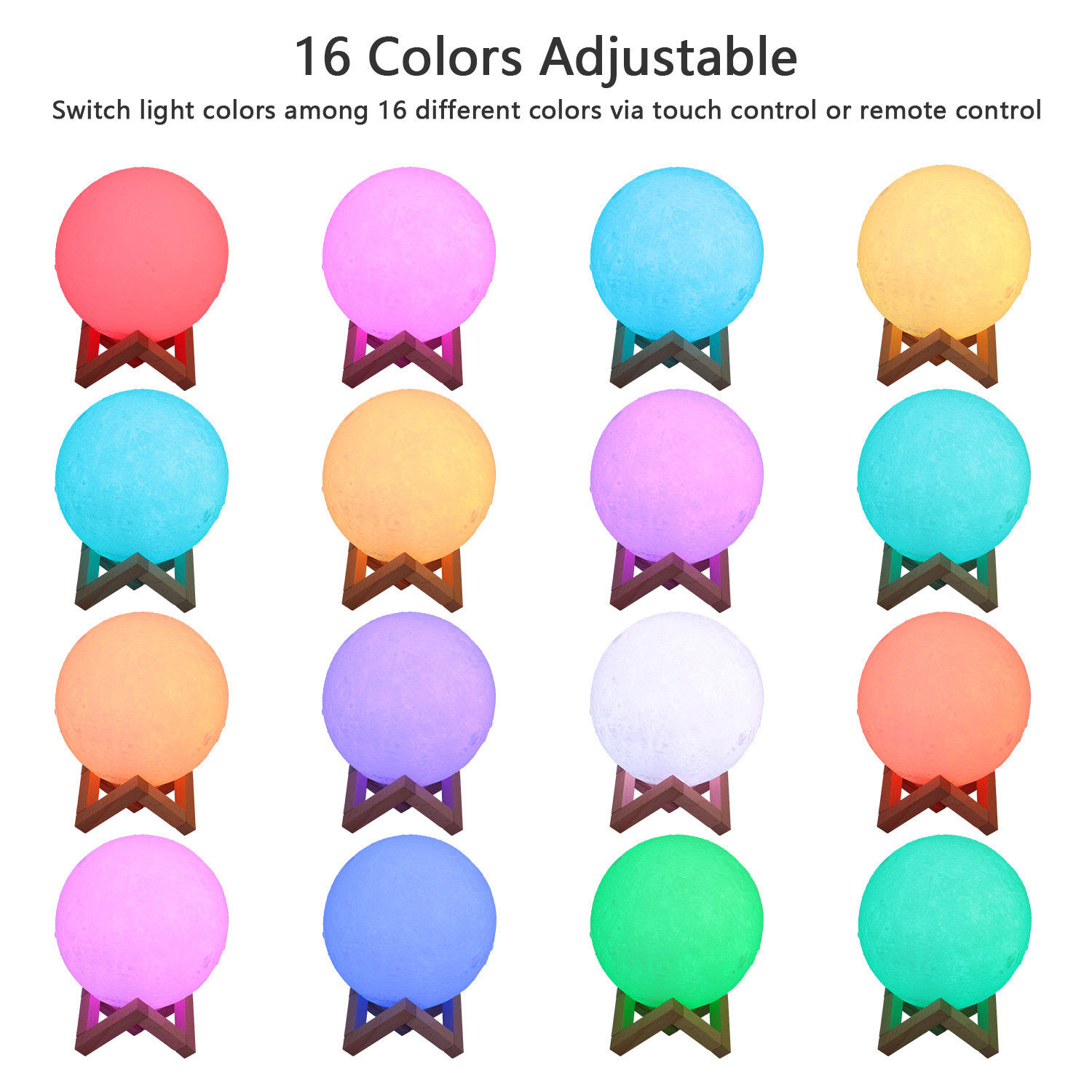 18 Cm 16 Colors Changeable 3d Print Moon Lamp Night Light Remote Touch Control Usb Led Night Light Home Bedroom Decor Creative