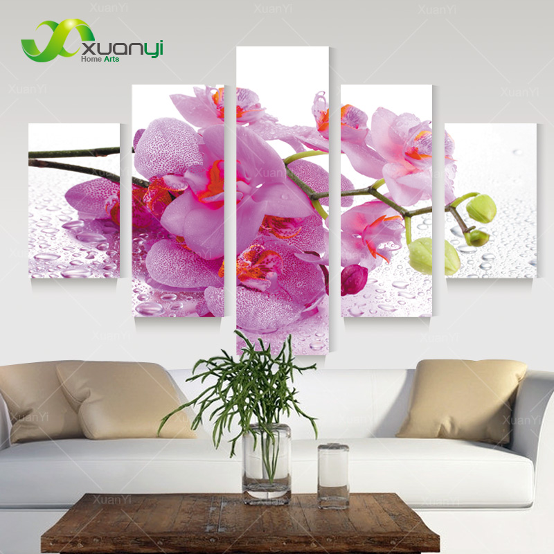 5 Piece Canvas Art Pink Flowers Wall Art Picture Modern Home ...