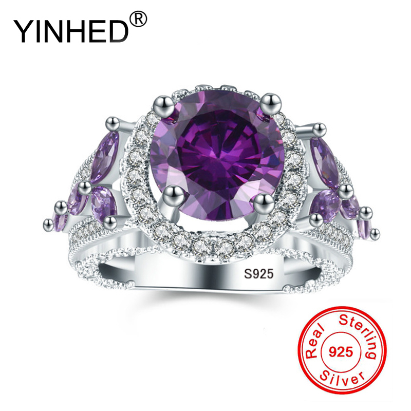 YINHED Original Pure 925 Sliver Rings Purple Stone Ring font b Luxury b font CZ Zircon
