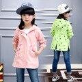 New arrival children kids clothing baby girls school girls fashion cotton jackets high quality big girls rose coats outwear