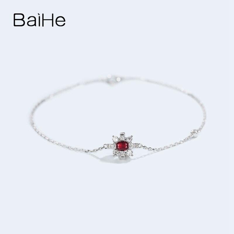 BAIHE sólido 14 K oro amarillo 0,2ct Certificado H/SI 100% diamantes naturales genuinos compromiso mujeres moda joyería fina pulsera - 4