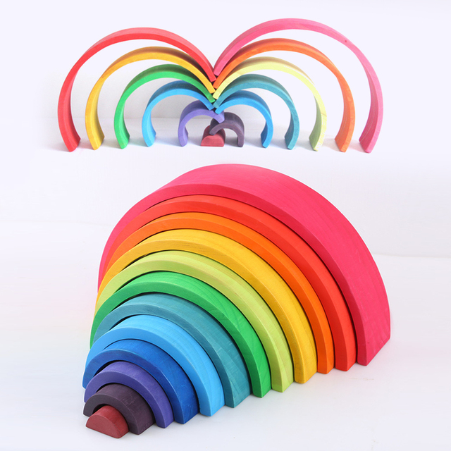 Building Blocks Wooden Rainbow Stacking Toy 12 Pcs