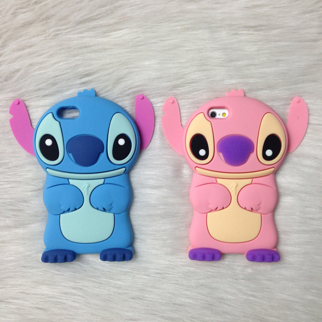 size 40 25b19 dc3d3 3D Cute Anime Cartoon Stitch Case For iPhone 7 Plus 8G 6S Plus 5G 5S SE 4  4S Case Silicone Soft Rubber Back Cover Fundas