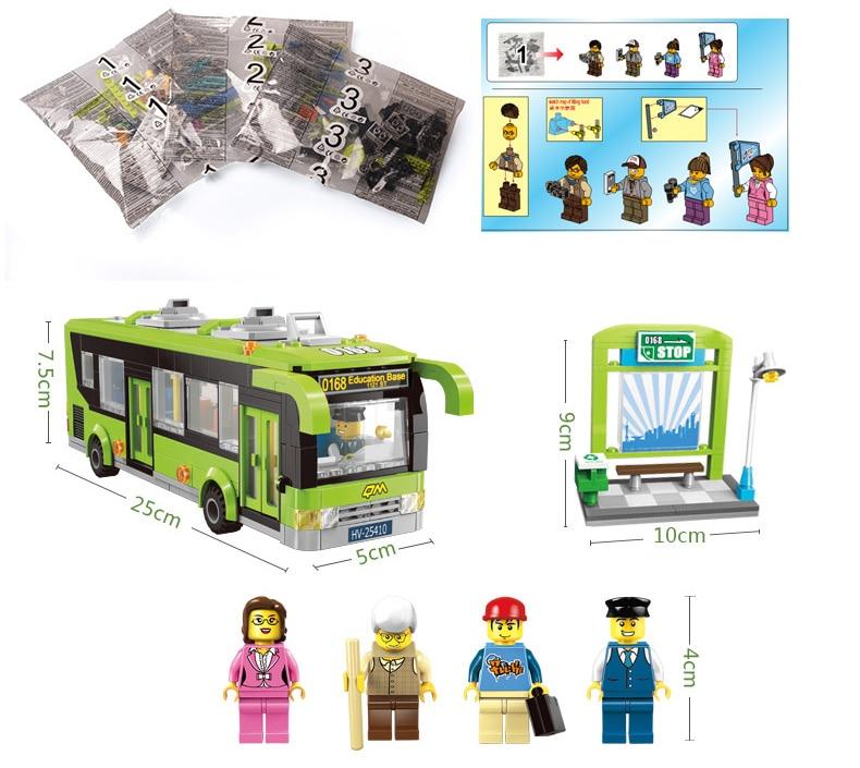 Enlighten Building Block Cars City Bus 4 Figures 416pcs Educational Bricks Toy Boy Gift-No Box
