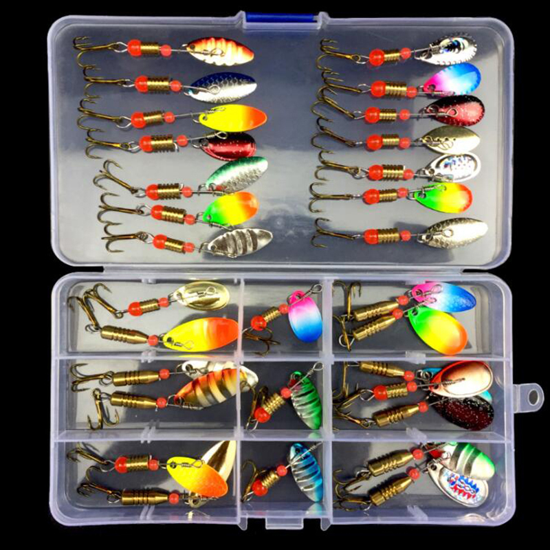 OUTKIT 10/30pcs Assorted Fishing Lures Metal Fishing Baits Bass Spoon Spinner Baits with Sharp Fishing Tackles Box Accessories