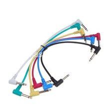 6 Packs Bunte Gitarren Patchkabel Kabel 6,35mm Abgewinkelt Für Elektrische Gitarre Effektpedale Kostenloser Versand