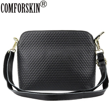 COMFORSKIN Brand Premium 100% Cowhide Leather Heart Pattern Ladies Messenger Bag 2018 Fashion Geometric Handbags Bolsas Feminina