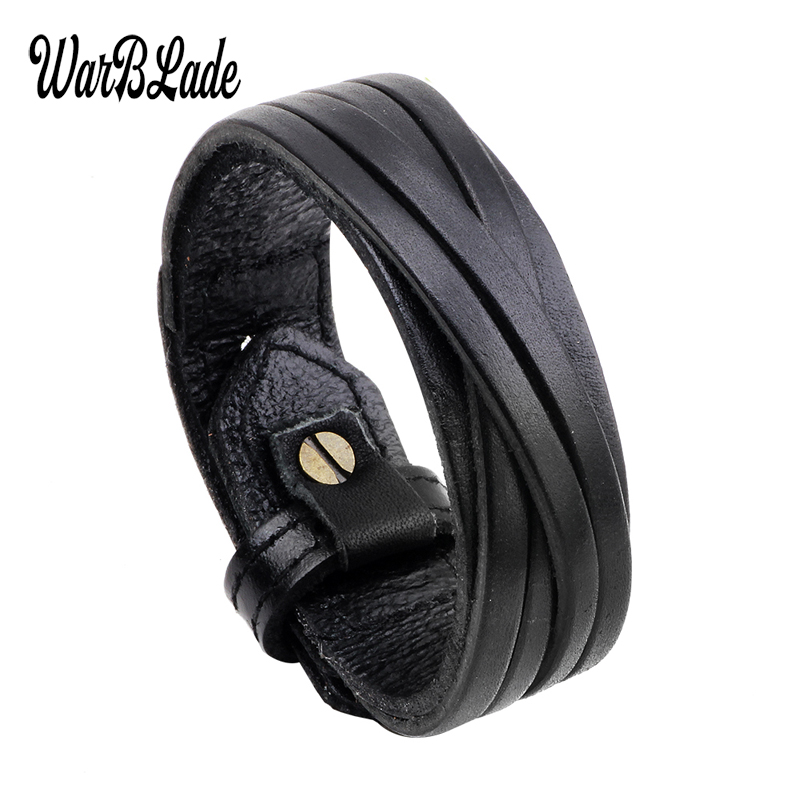 WarBLade 2019 New Fashion Men Bracelet Black Brown Genuine Leather Bracelets Bangles Punk Wide Wrap Wristband For Women Jewelry