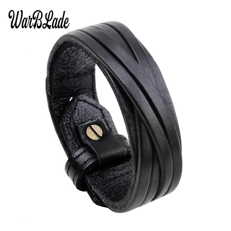 WarBLade 2019 New Fashion Men Bracelet Black Brown Genuine Leather Bracelets Bangles Punk Wide Wrap Wristband For Women Jewelry