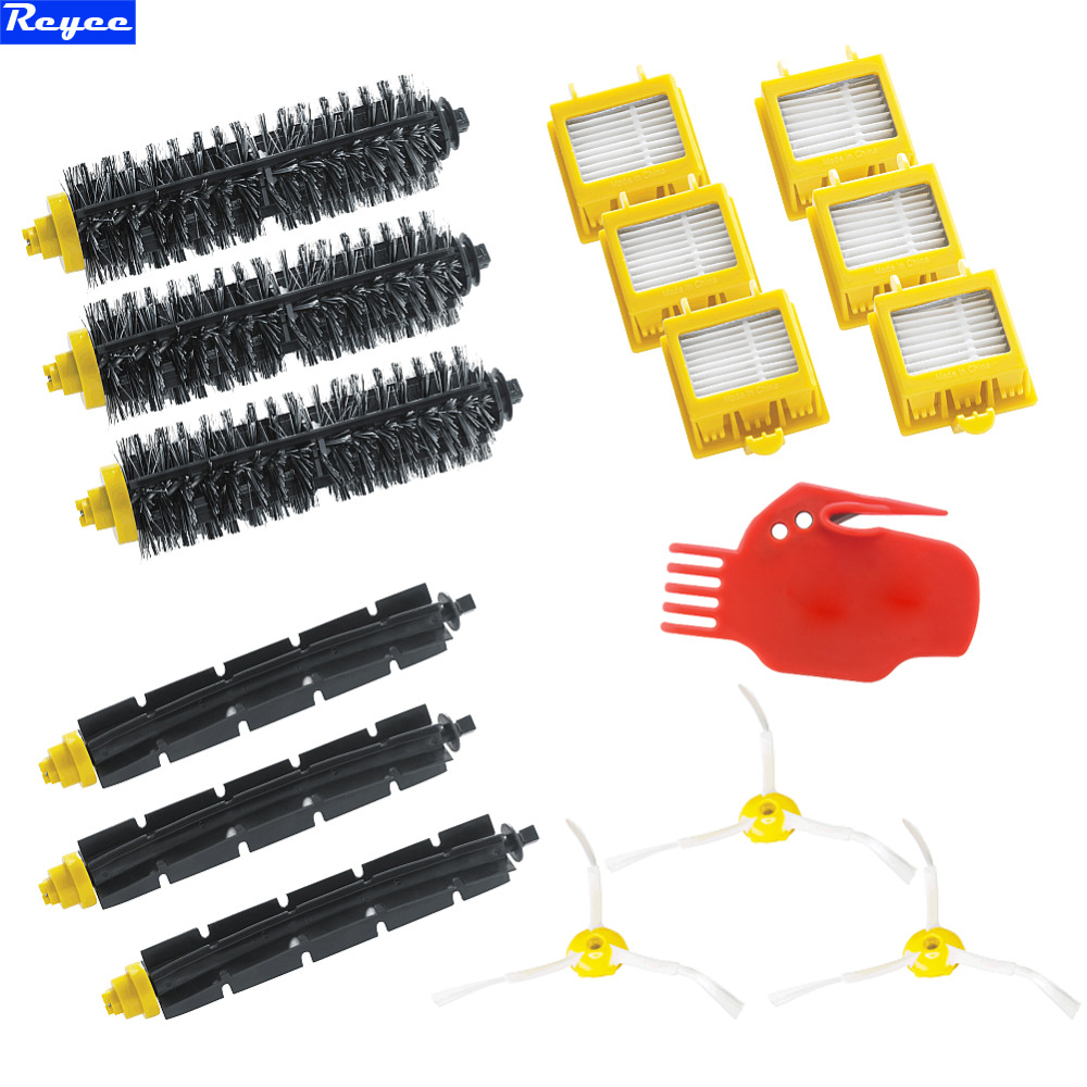Hepa Filters & Flexible Beater Brush Bristle Brush Pack Kit 3 Arms Sidebrush for iRobot Roomba 700 Series 760 770 780 high quality filters brush pack kit for 700 series new arrival