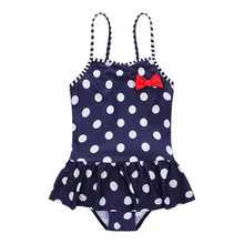 Funfeliz Blue Baby Girl Swimsuit With Skirt Cute Dot Bow one piece swimwear for girl Kids Swimming Suit Children Bather 2-10 Y